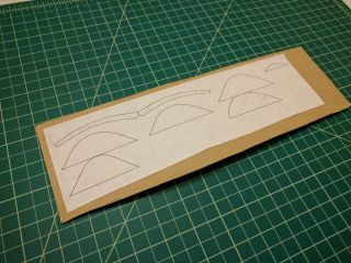 Cross section printout glued to flat cardboard